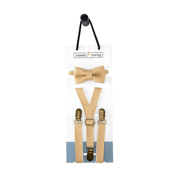 The Perfect Match Bow Tie Set in Birch by Sweet N Swag