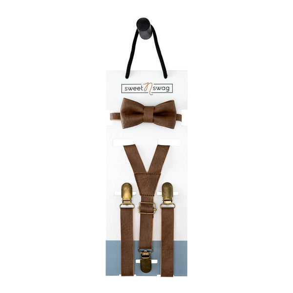 The Perfect Match Bow Tie Set in Walnut by Sweet N Swag