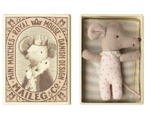 Sleepy Wakey Baby Girl Mouse in Box by Maileg
