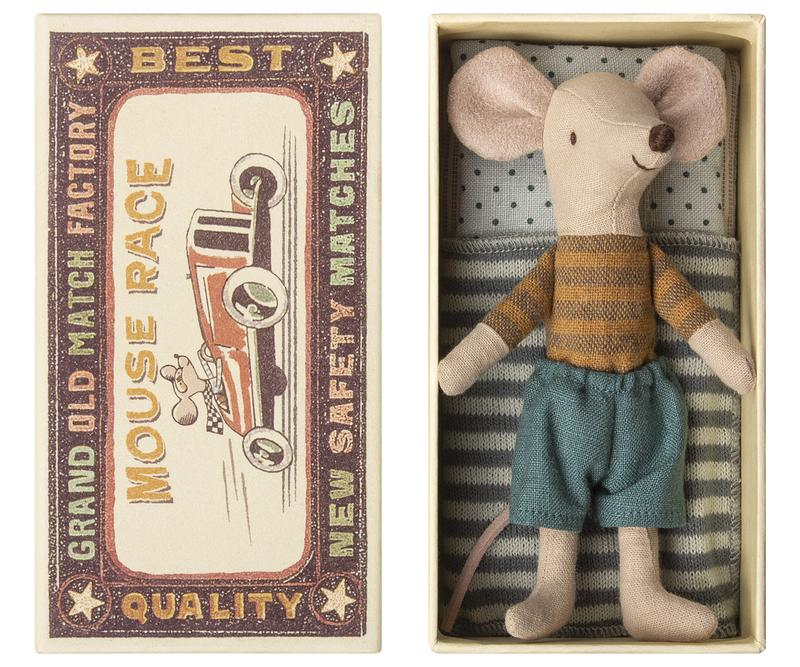 Big Brother Mouse in Box with Striped Shirt by Maileg