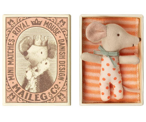 Girl Baby Mouse Sleepy Wakey in Box with Coral Dotted One Piece by Maileg