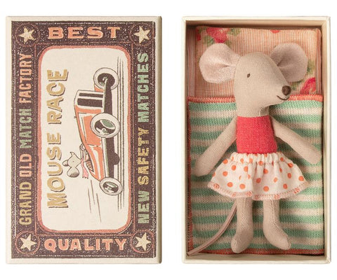 Little Sister Mouse in Box with Orange Polka Dot Tutu by Maileg