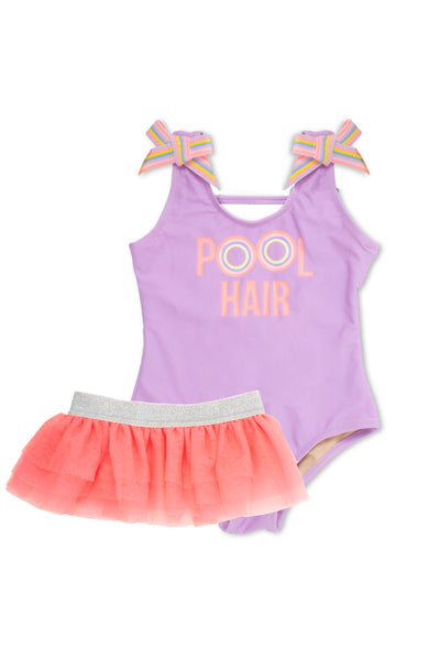 "One Piece Tanksuit with Tutu in Purple ""Pool Hair"" by Shade Critters"
