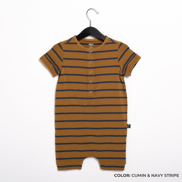 Short Sleeve Henley Short Essentials Rag Romper in Cumin & Midnight Navy Stripe by RAGS