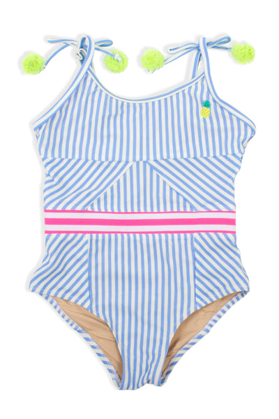 One Piece Cutout Back in Blue Pinstripe Embroidered Pineapple by Shade Critters
