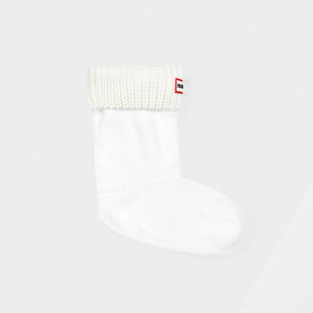 Original Kids Half Cardigan Knitted Cuff Boot Socks in White by Hunter Boots