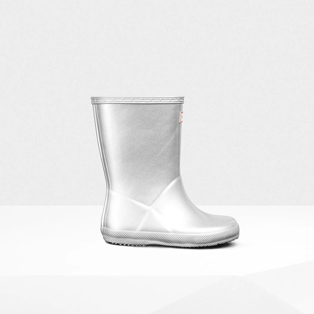 Original Kids First Classic Metallic Rain Boots in Silver by Hunter Boots