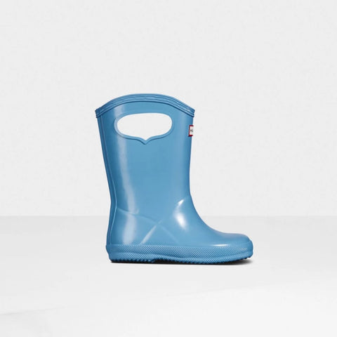 Original Kids First Classic Grab Handle Gloss Rain Boots in Amplifying Blue by Hunter Boots