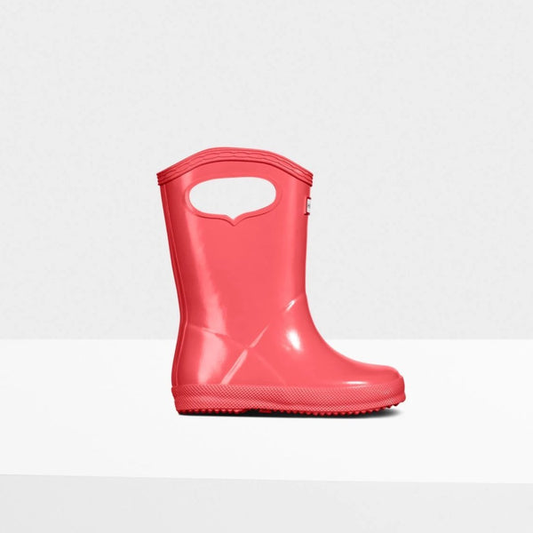 Original Kids First Classic Grab Handle Gloss Rain Boots in Rhythmic Pink by Hunter Boots
