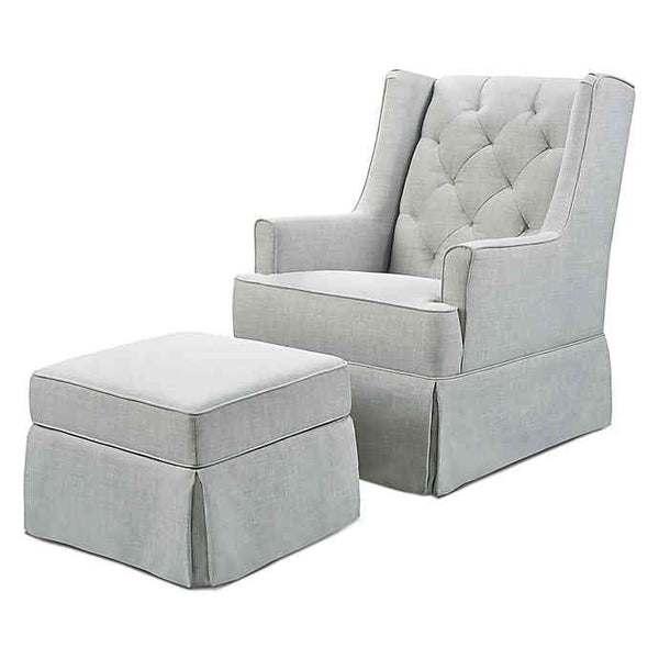 Classic Sadie Swivel Glider with Storage Ottoman in Light Grey by Million Dollar Baby