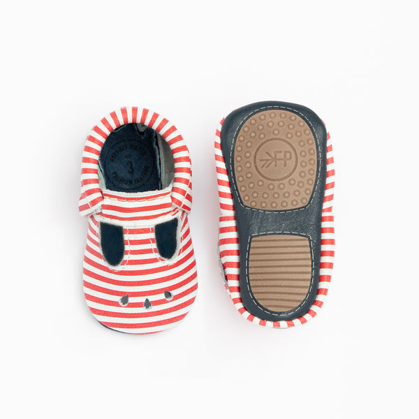 Mary Jane Mini Sole in Red and White Stripes by Freshly Picked