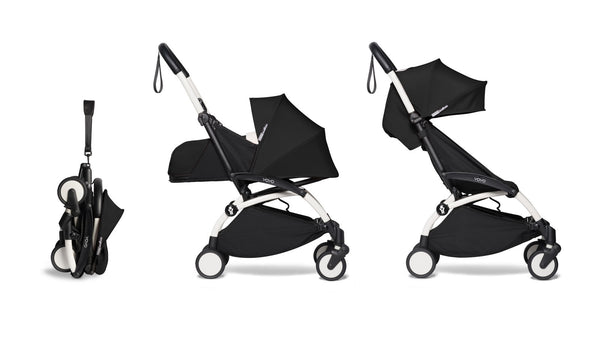 BABYZEN YOYO² Complete Stroller with Newborn & Toddler Color Pack Fabric Set in Black with White Frame