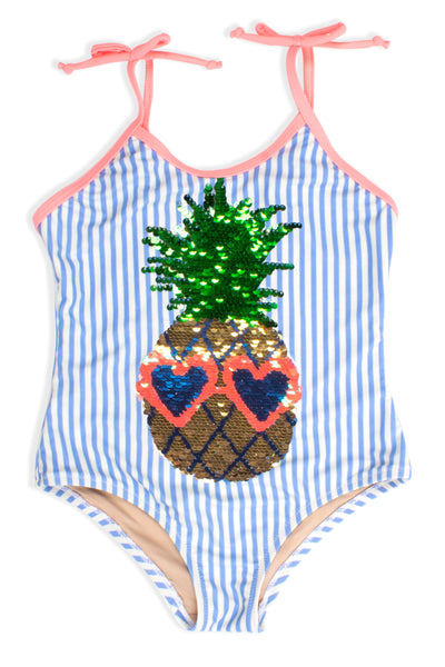 One Piece Flip Sequins in Pineapple Blue Pinstripe by Shade Critters