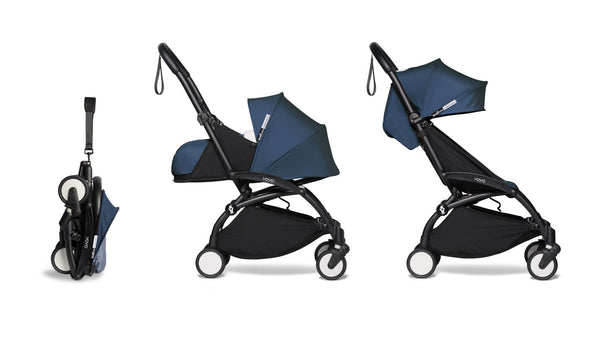 BABYZEN YOYO² Complete Stroller with Newborn & Toddler Color Pack Fabric Set in Air France with Black Frame