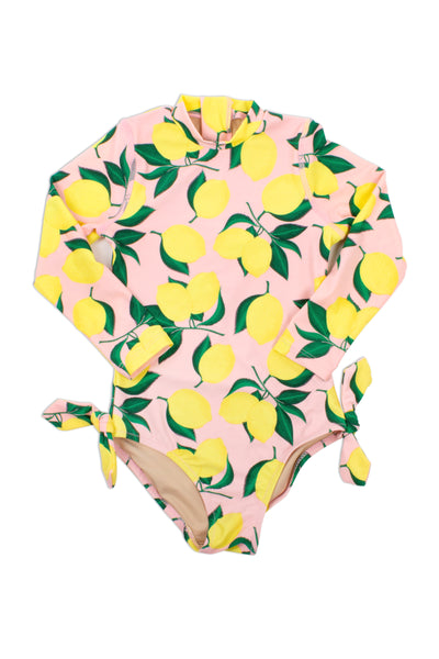 One Piece Longsleeve Suit in Yellow and Pink Lemon Print by Shade Critters