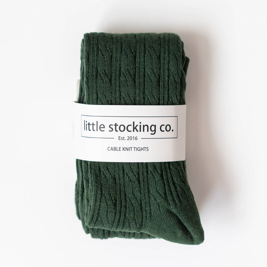 Little Stocking Co. - Forest Green Cable Knit Tights