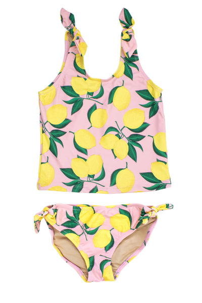 Two Piece Tankini in Tie Side Yellow and Pink Lemon Print by Shade Critters