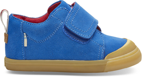 Cobalt Blue Suede Tiny TOMS Lenny Mid Strap Sneakers