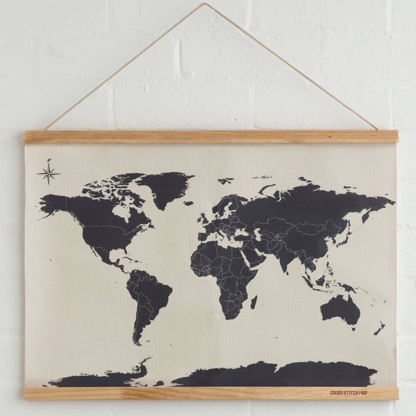 Cross Stitch Map Kit by SUCK UK