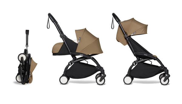 BABYZEN YOYO² Complete Stroller with Newborn & Toddler Color Pack Fabric Set in Toffee with Black Frame