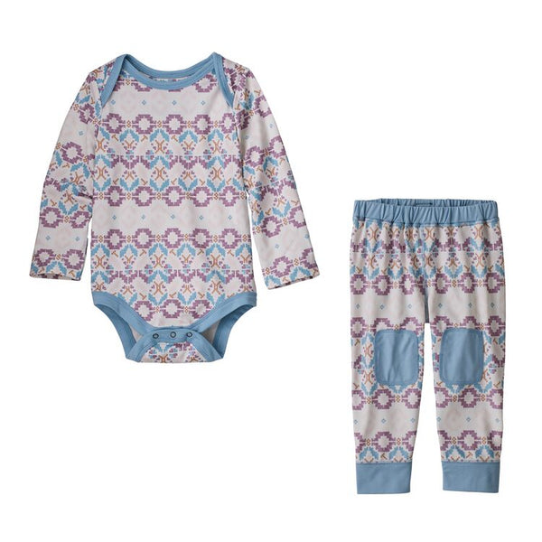 Infant Capilene® Set in Tundra Cluster Texture Small Verbena Purple by Patagonia