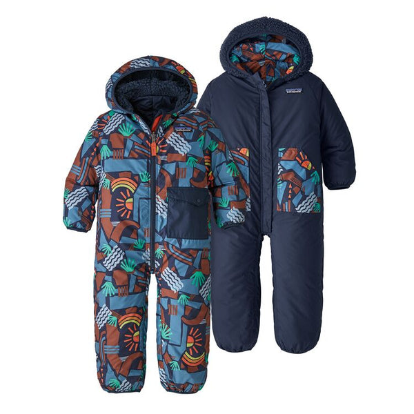 Infant Reversible Puff-Ball Bunting in Canyon Block Big New Navy by Patagonia