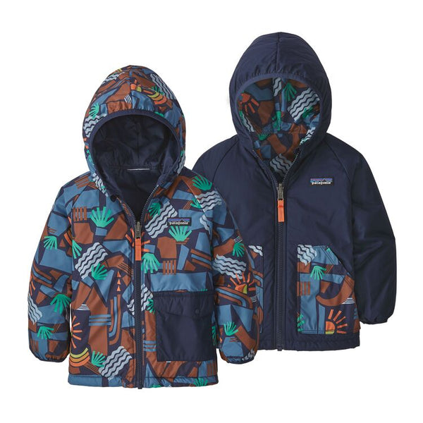 Baby Reversible Puff-Ball Jacket in Canyon Block Big New Navy by Patagonia