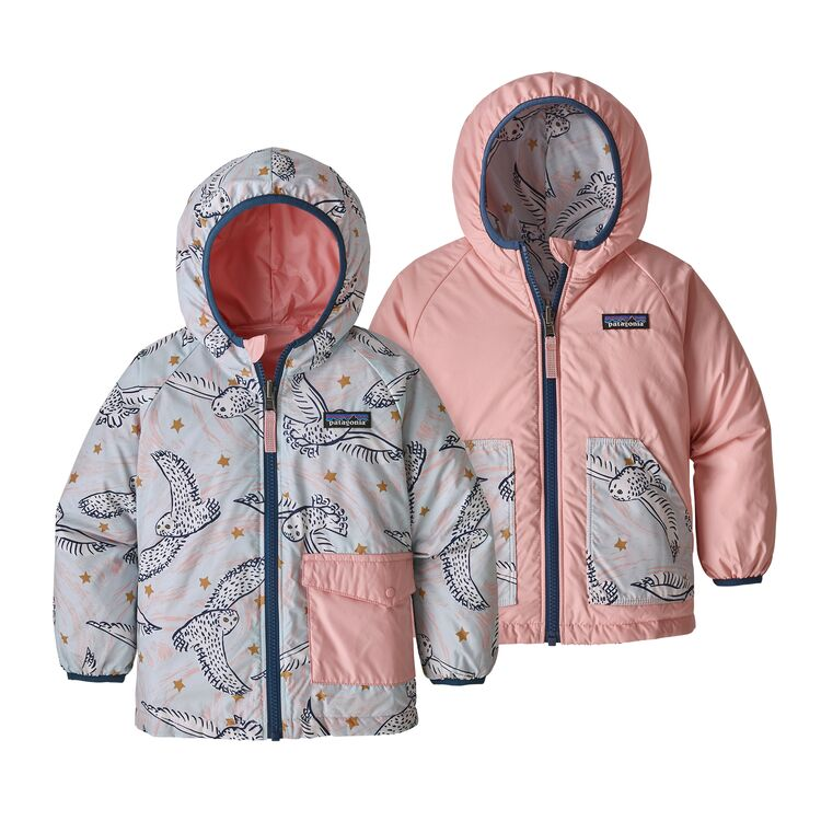 Baby Reversible Puff-Ball Jacket in Snowy Owl Sky Hawthorne Blue by Patagonia