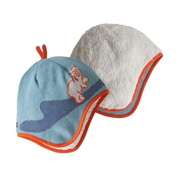 Baby Reversible Beanie in Polar Bears Play Knit Big Sky Blue by Patagonia
