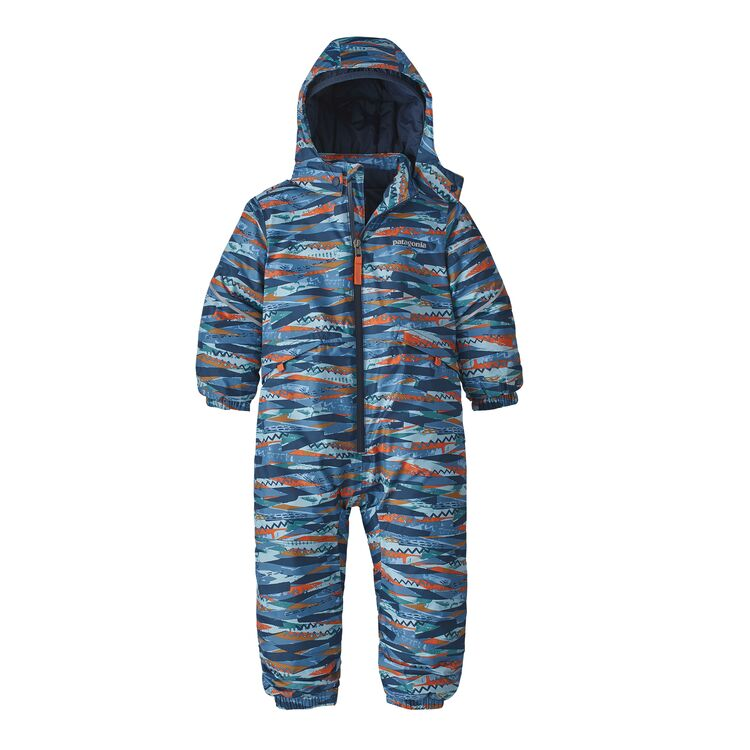 Baby Snow Pile One-Piece in Play Stripe Woolly Blue by Patagonia
