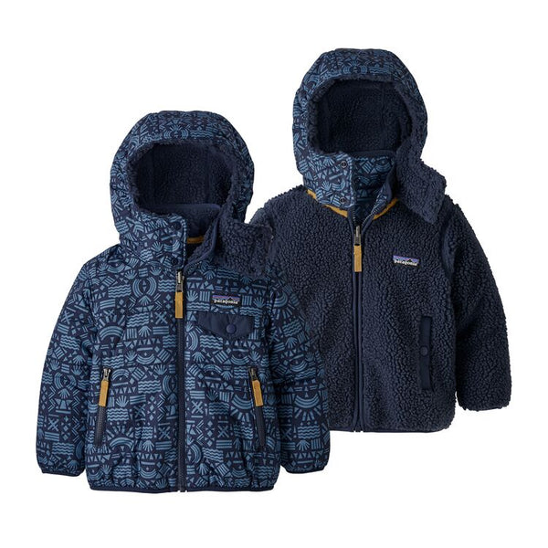 Baby Reversible Tribbles Hoody in Desert Block Geo New Navy by Patagonia