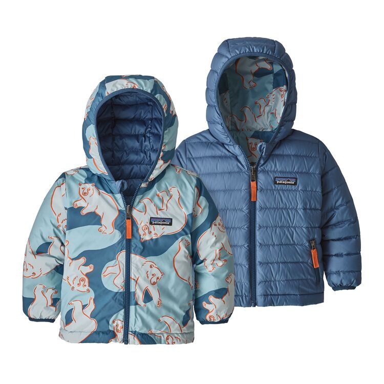 Baby Reversible Down Sweater Hoody in Polar Bears Play Woolly Blue by Patagonia