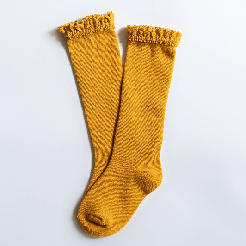 Little Stocking Co. - Marigold Yellow Lace Top Knee Highs
