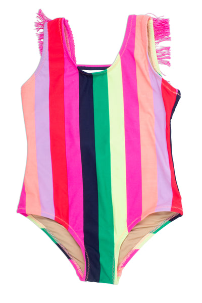 Fringe Back One Piece in Multi Stripe by Shade Critters