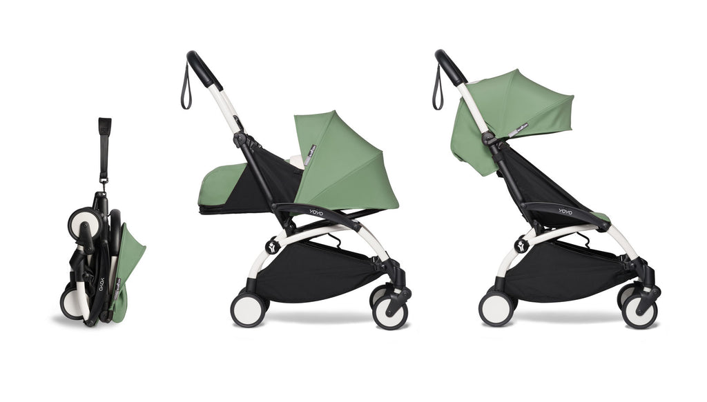 BABYZEN YOYO² Complete Stroller with Newborn & Toddler Color Pack Fabric Set in Mint with White Frame