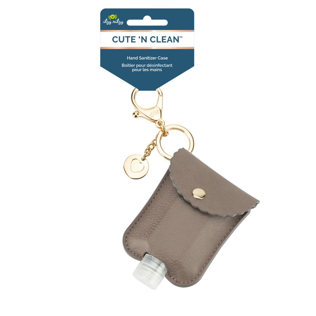 Cute 'n Clean™ Hand Sanitizer Charm Keychain in Taupe by Itzy Ritzy