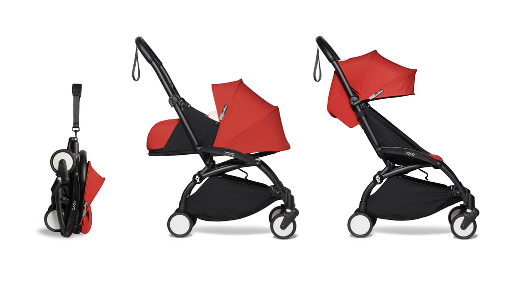 BABYZEN YOYO² Complete Stroller with Newborn & Toddler Color Pack Fabric Set in Red with Black Frame