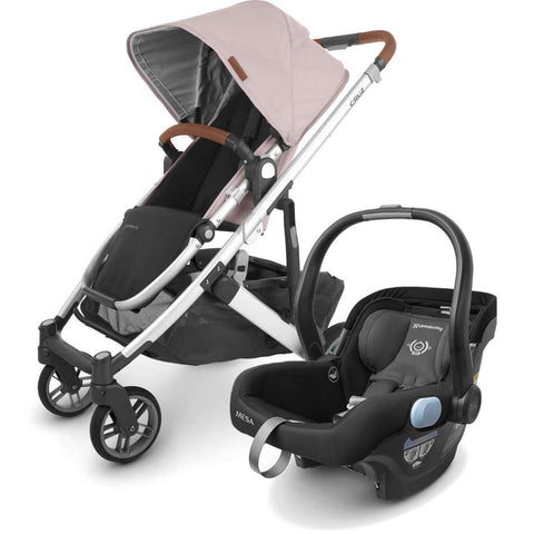 UPPAbaby CRUZ V2 Stroller - ALICE (dusty pink/silver/saddle leather) + MESA Infant Car Seat - JAKE (black)