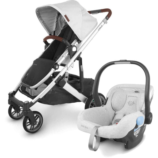 UPPAbaby CRUZ V2 Stroller - BRYCE (white marl/silver/chestnut leather) + MESA Infant Car Seat
