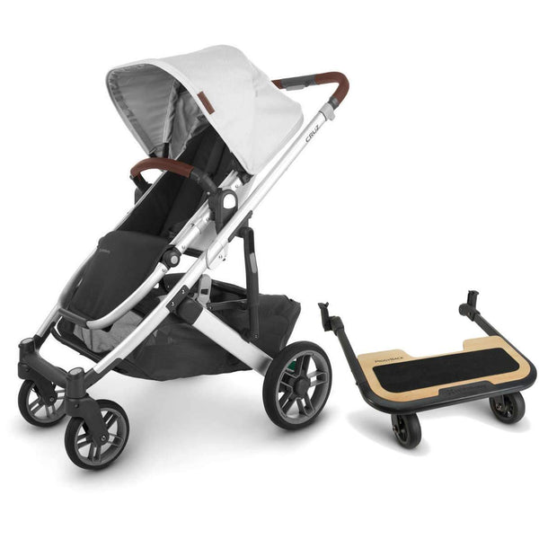 UPPAbaby CRUZ V2 Stroller - BRYCE (white marl/silver/chestnut leather) + PiggyBack