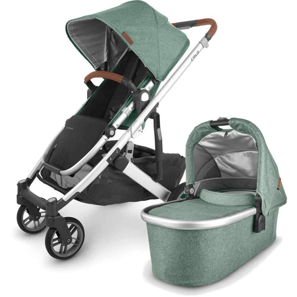 UPPAbaby CRUZ V2 Stroller - EMMETT (green melange/silver/saddle leather) + Bassinet