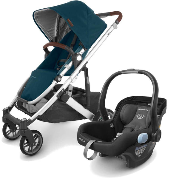 UPPAbaby CRUZ V2 Stroller - FINN (deep sea/silver/chestnut Leather) + MESA Infant Car Seat - JAKE (black)