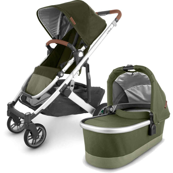 UPPAbaby CRUZ V2 Stroller - HAZEL (olive/silver/saddle leather) + Bassinet