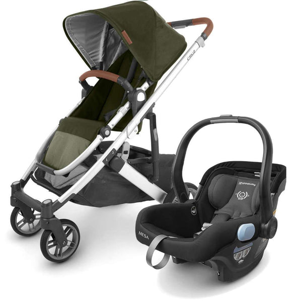 UPPAbaby CRUZ V2 Stroller - HAZEL (olive/silver/saddle leather) + MESA Infant Car Seat - JAKE (black)