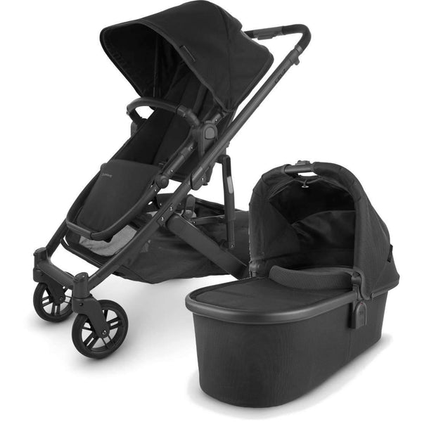 UPPAbaby CRUZ V2 Stroller - JAKE (black/carbon/black leather) + Bassinet