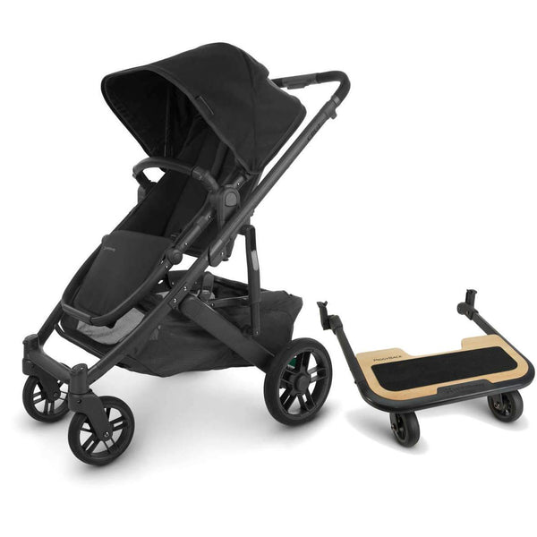 UPPAbaby CRUZ V2 Stroller - JAKE (black/carbon/black leather) + PiggyBack