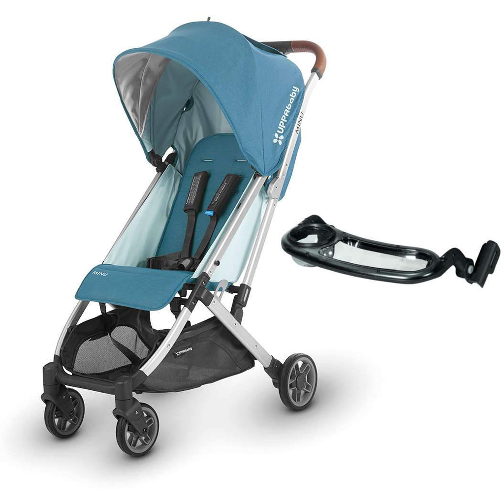 UPPAbaby MINU Stroller - RYAN (teal melange/silver/saddle leather) + Snack Tray