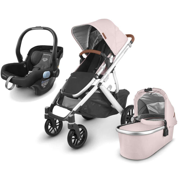 UPPAbaby VISTA V2 Stroller - ALICE (dusty pink/silver/saddle leather) + MESA Infant Car Seat - JAKE (black)