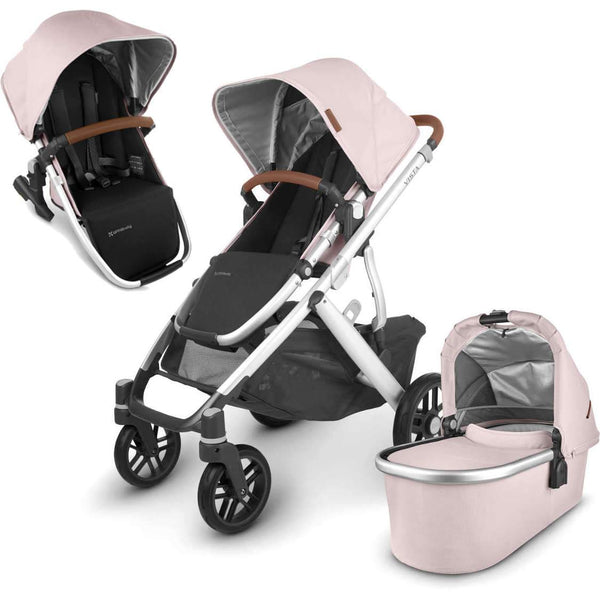 UPPAbaby VISTA V2 Stroller - ALICE (dusty pink/silver/saddle leather) + Upper Adapters + RumbleSeat
