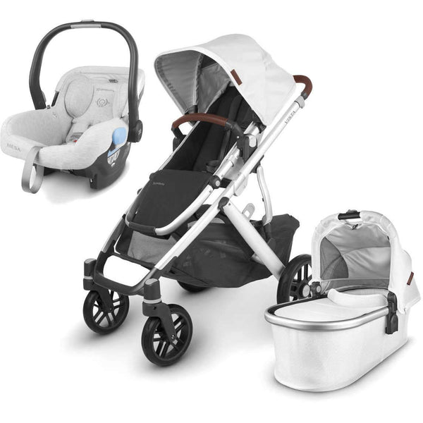 UPPAbaby VISTA V2 Stroller - BRYCE (white marl/silver/chestnut leather) + MESA Infant Car Seat